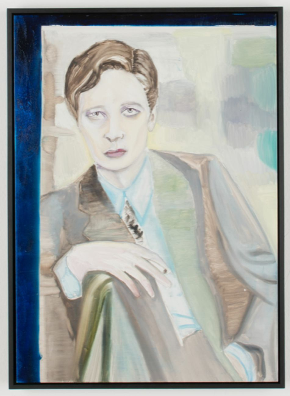 Marc Bauer, Untitled (Annemarie seated), 2017, pittura ad olio su alluminio rivestito, cm 47 x 34. Courtesy Gilda Lavia, Roma