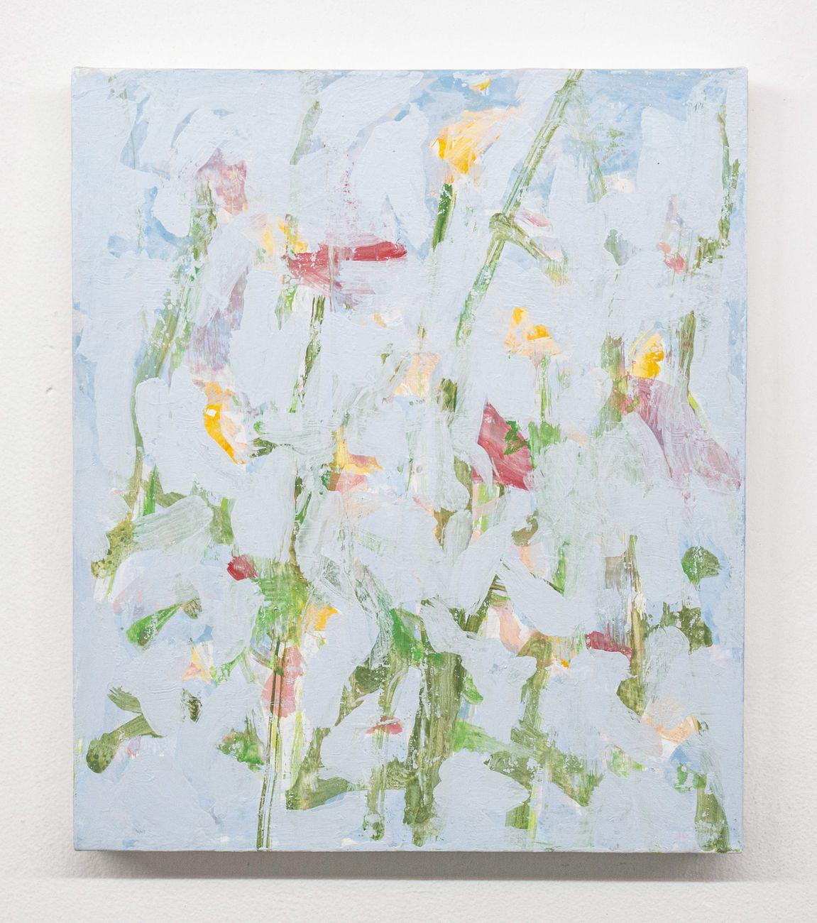 Marco Eusepi, Senza titolo (Fiori), 2020, acrilico e olio su tela, 35x30 cm