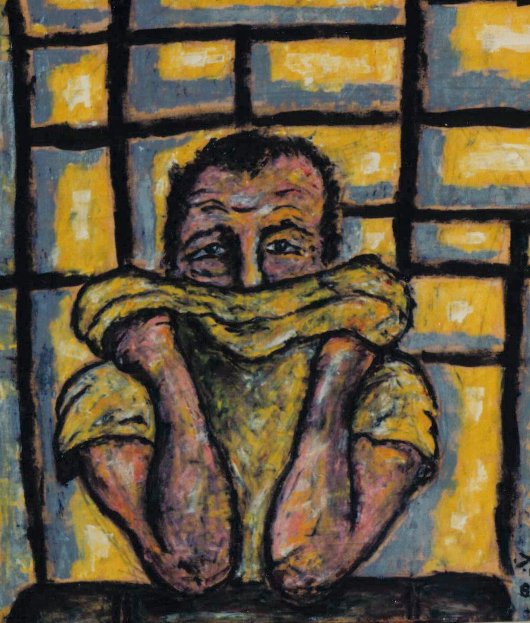 Pino Boresta, Ho paura, materiali vari su tovagliolo, 1989