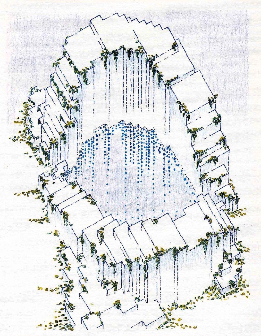 Quinto Palazzo Uffici SNAM, San Donato Milanese, 1985 92. Roberto Gabetti e Aimaro Isola, Guido Drocco (disegno Archivio Gabetti e Isola)