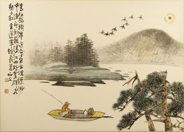 Suh Se-ok, Fishing in the River with pine tree