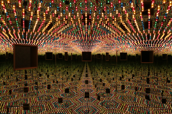 Yayoi Kusama, Infinity Mirror Room Wood, mirrors, metal, lightbulbs, 210.2 x 240.2 x 205.2 cm © YAYOI KUSAMA, Courtesy: Ota Fine Arts