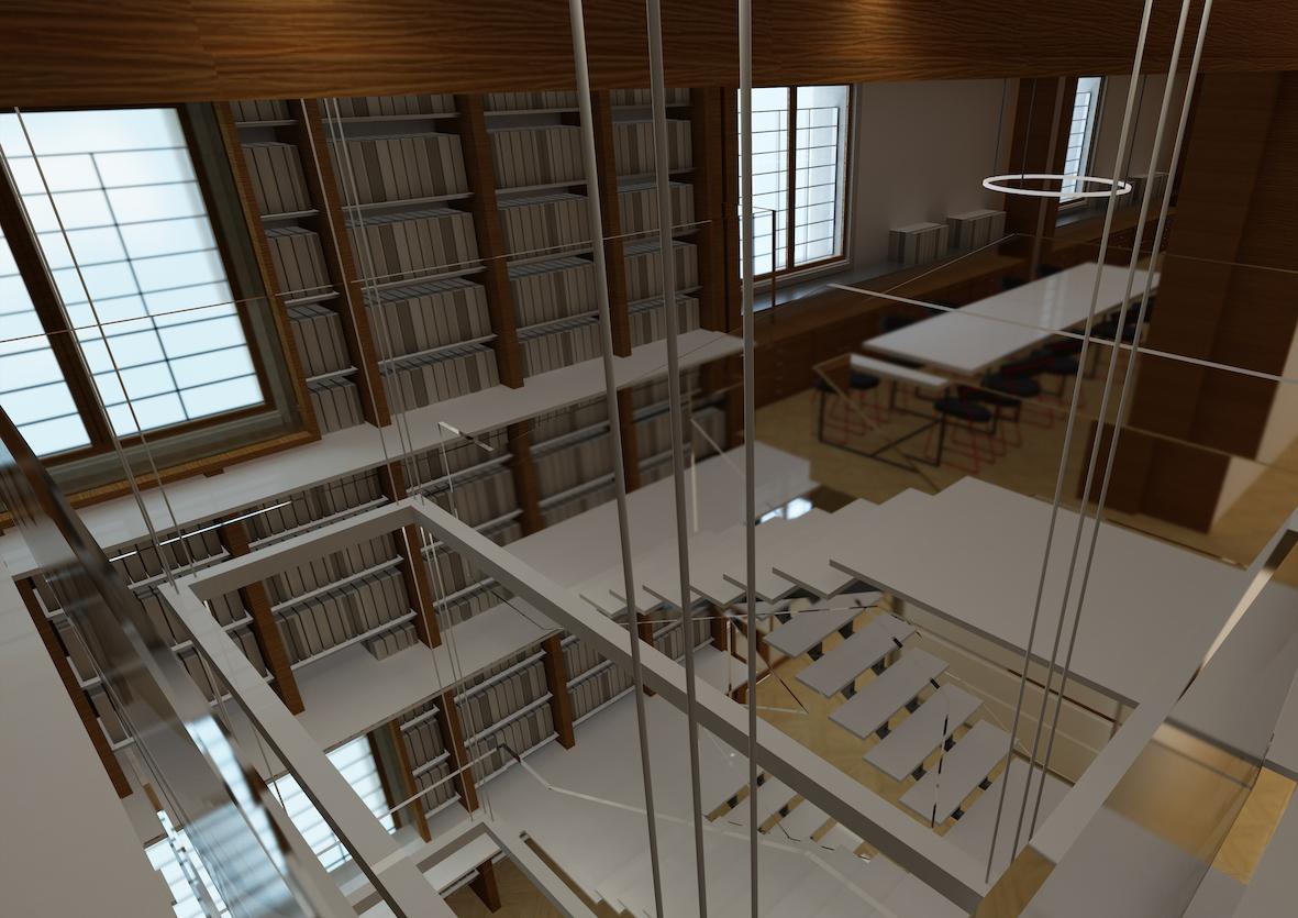 Rendering del progetto Cabina ACE di Roma Termini - biblioteca archivio