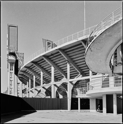 Exterior of the Franchi Stadium with one of the helical staircases ©Marco Menghi. Courtesy Pier Luigi Nervi Project Association