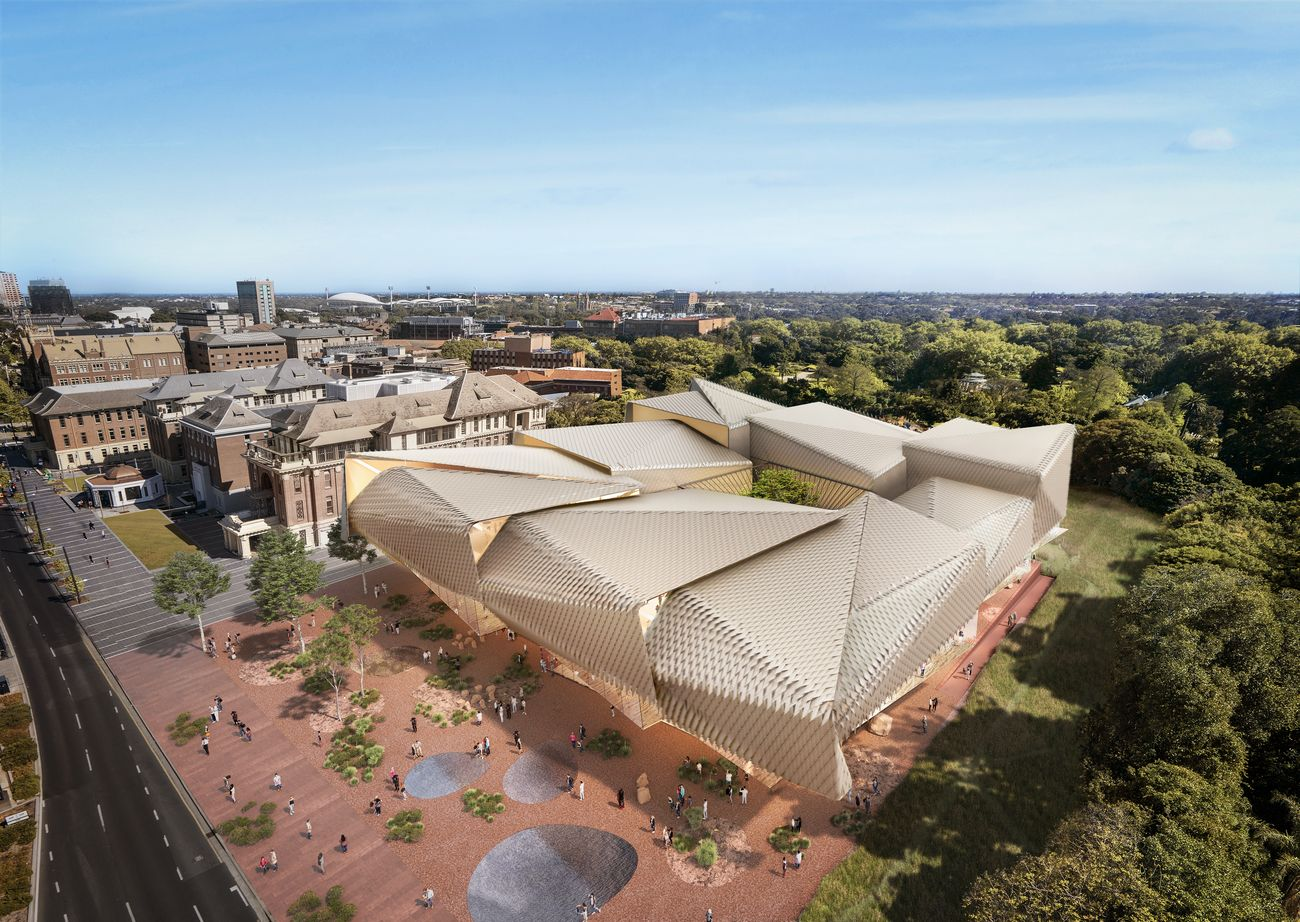 Diller Scofidio + Renfro & Woods Bagot, AACC Aboriginal Art and Cultures Centre, Adelaide, rendering