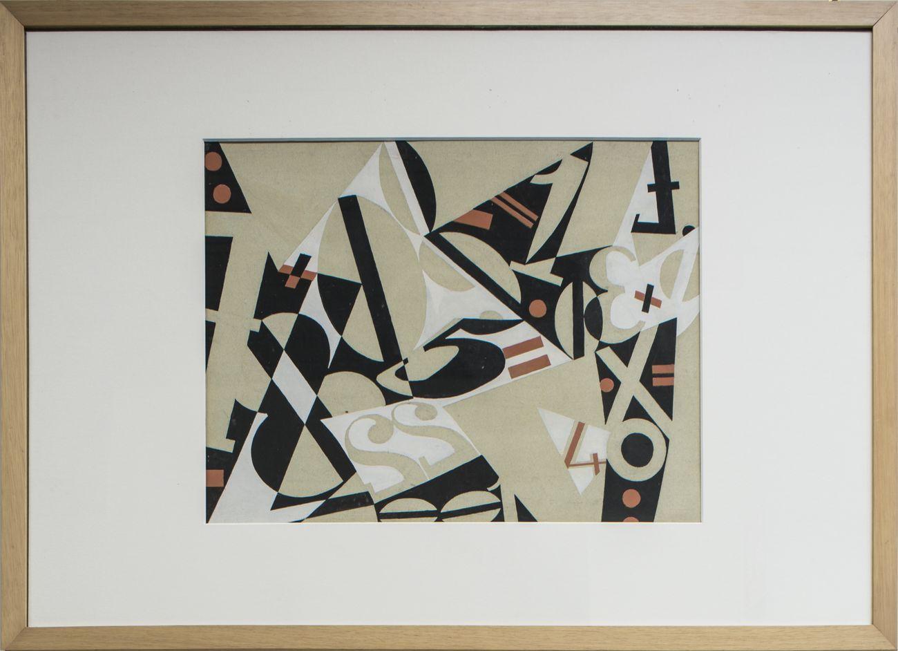 Enrico Prampolini, Operazione aritmetica, 1953, tempera su cartone, cm 49x64,5. Collezione Farnesina