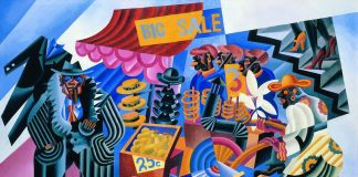 Fortunato Depero, Big Sale (Mercato di Down Town), 1929, olio su tela, 116x184 cm. Courtesy Studio 53 Arte e Eredi Depero. Photo © Archivio Fotografico Depero