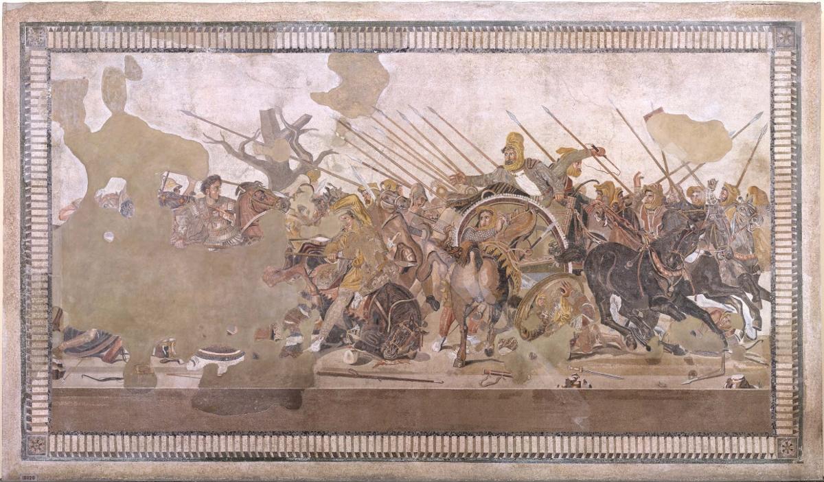 Foto del Mosaico della Battaglia di Isso tra Alessandro Magno e Dario di Persia (fine II inizi I sec. a.C.)_ immagini delle attività di diagnostica sul mosaico del MANN, credits Pedicini Fotografi
