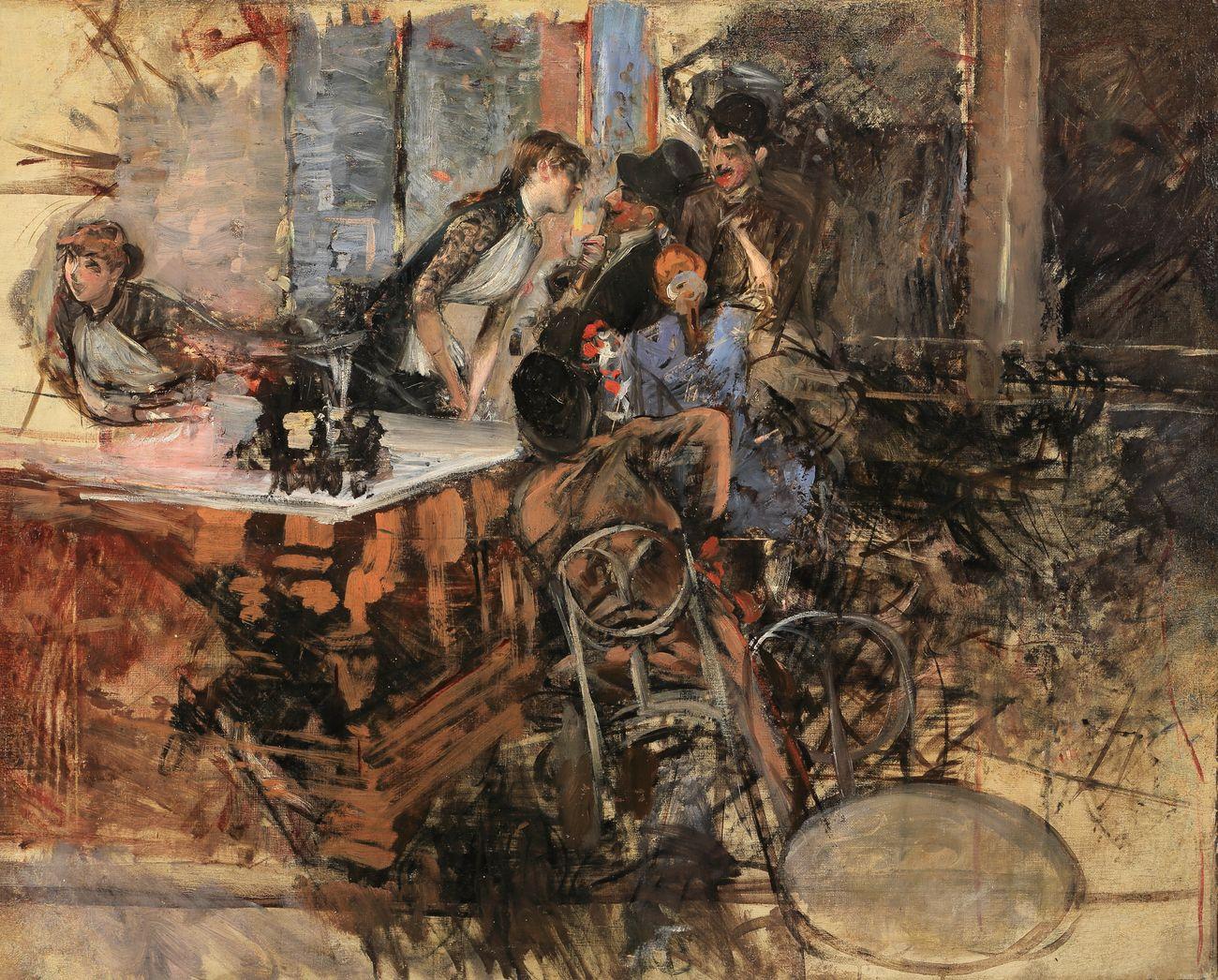 Giovanni Boldini, Il bar delle Folies Bergère, 1885 ca. Collezione privata. Courtesy Enrico Gallerie d'arte