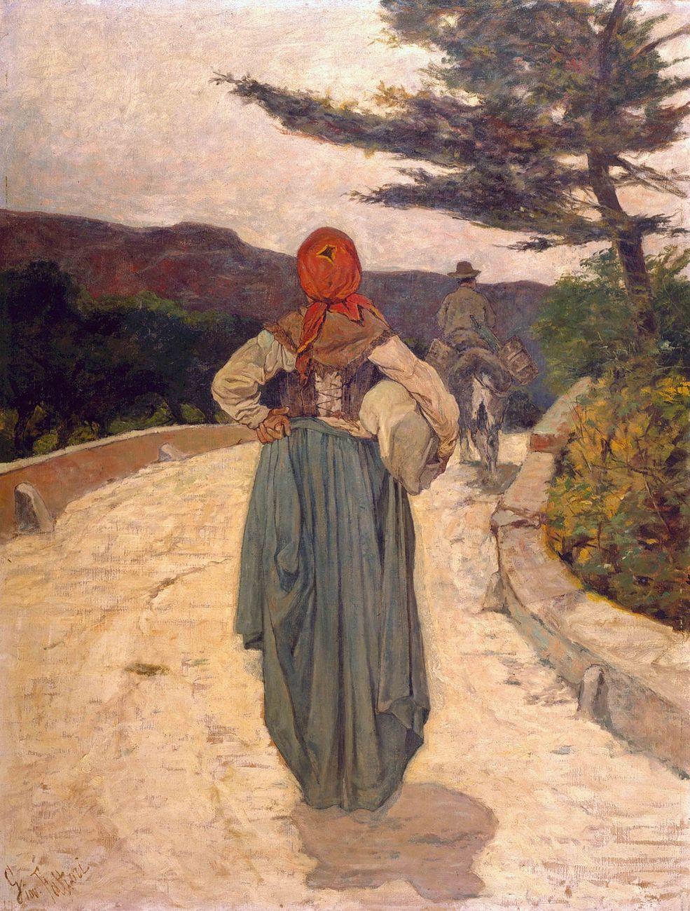 Giovanni Fattori, La strada bianca, 1887 ca., olio su tela, cm 95x73. Viareggio, Istituto Matteucci