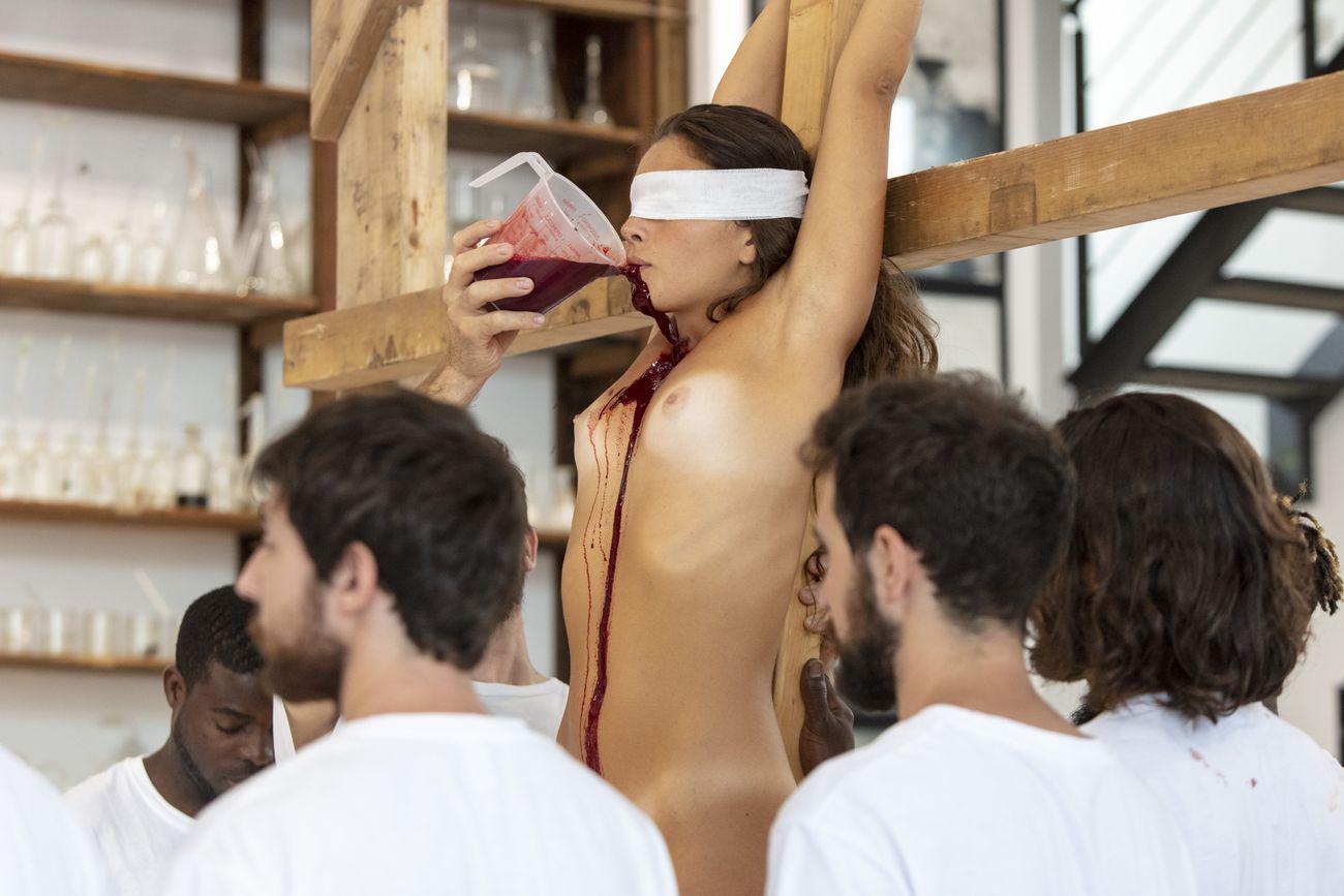 Hermann Nitsch, 158.aktion (18.09.2020), Museo Archivio Laboratorio per le Arti Contemporanee Hermann Nitsch Napoli, photo A. Benestante © Fondazione Morra