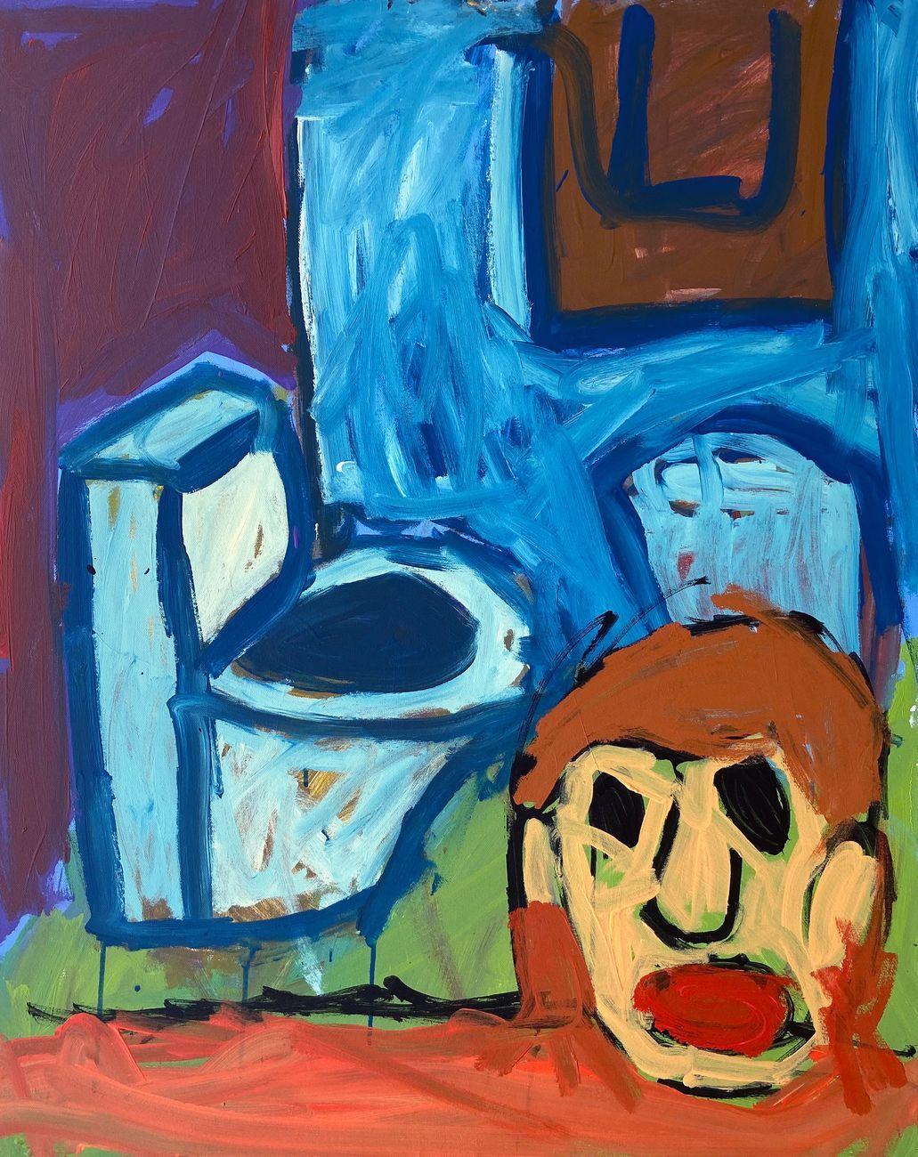 Matteo Cordero, Blue Toilet, 2020, acrilico su tela, 100x80 cm