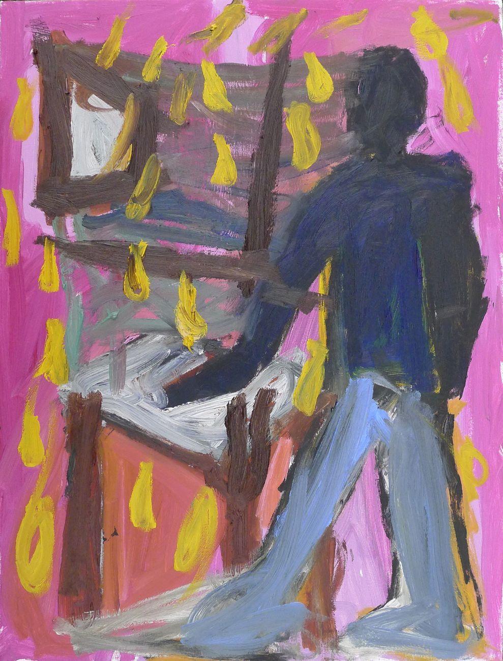 Matteo Cordero, Pink Room, 2019, olio su tela, 80x60 cm