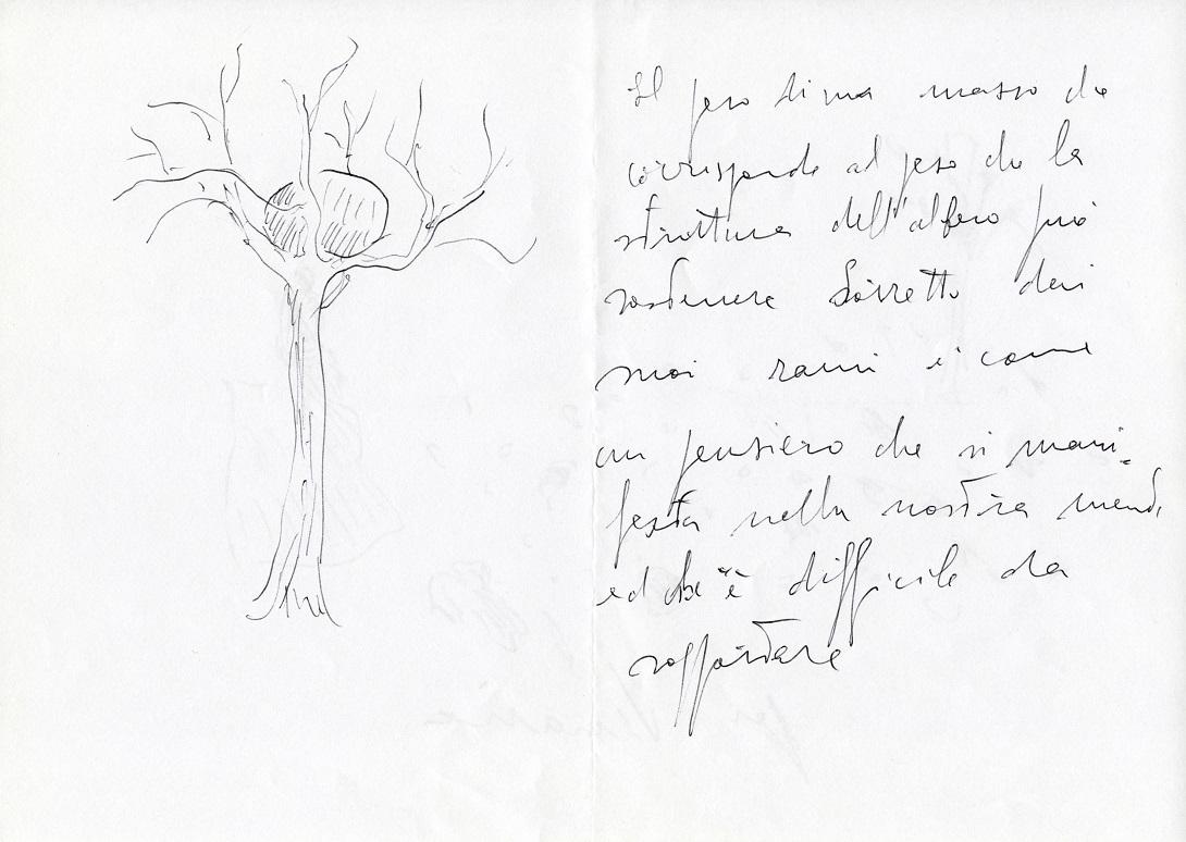 Giuseppe Penone, Giardino delle sculture fluide - schizzi e note di lavoro ©Archivio_Penone