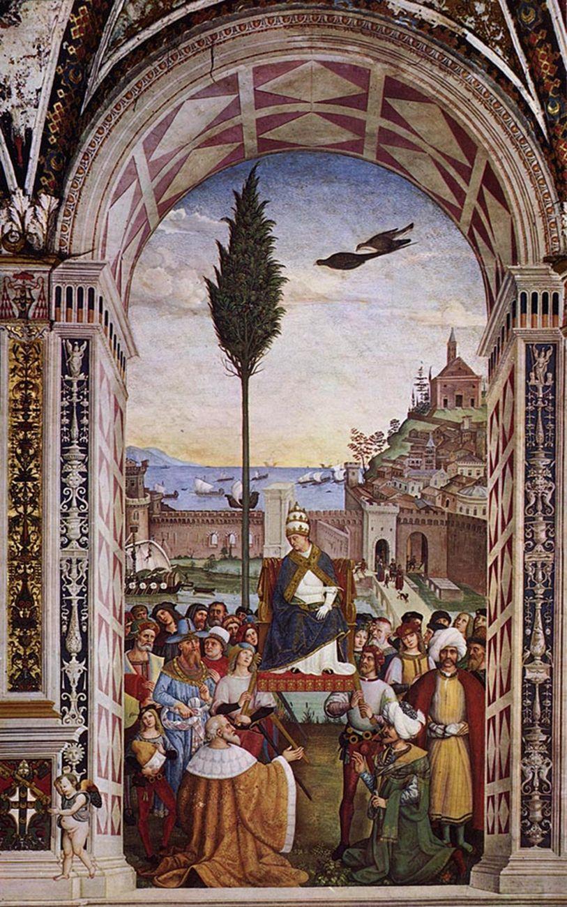 Pinturicchio, Pio II giunge ad Ancona, dal ciclo Storie della vita di Enea Silvio Piccolomini, 1502 08. Duomo di Siena. Photo Ghigo Roli Archivi Alinari, Firenze