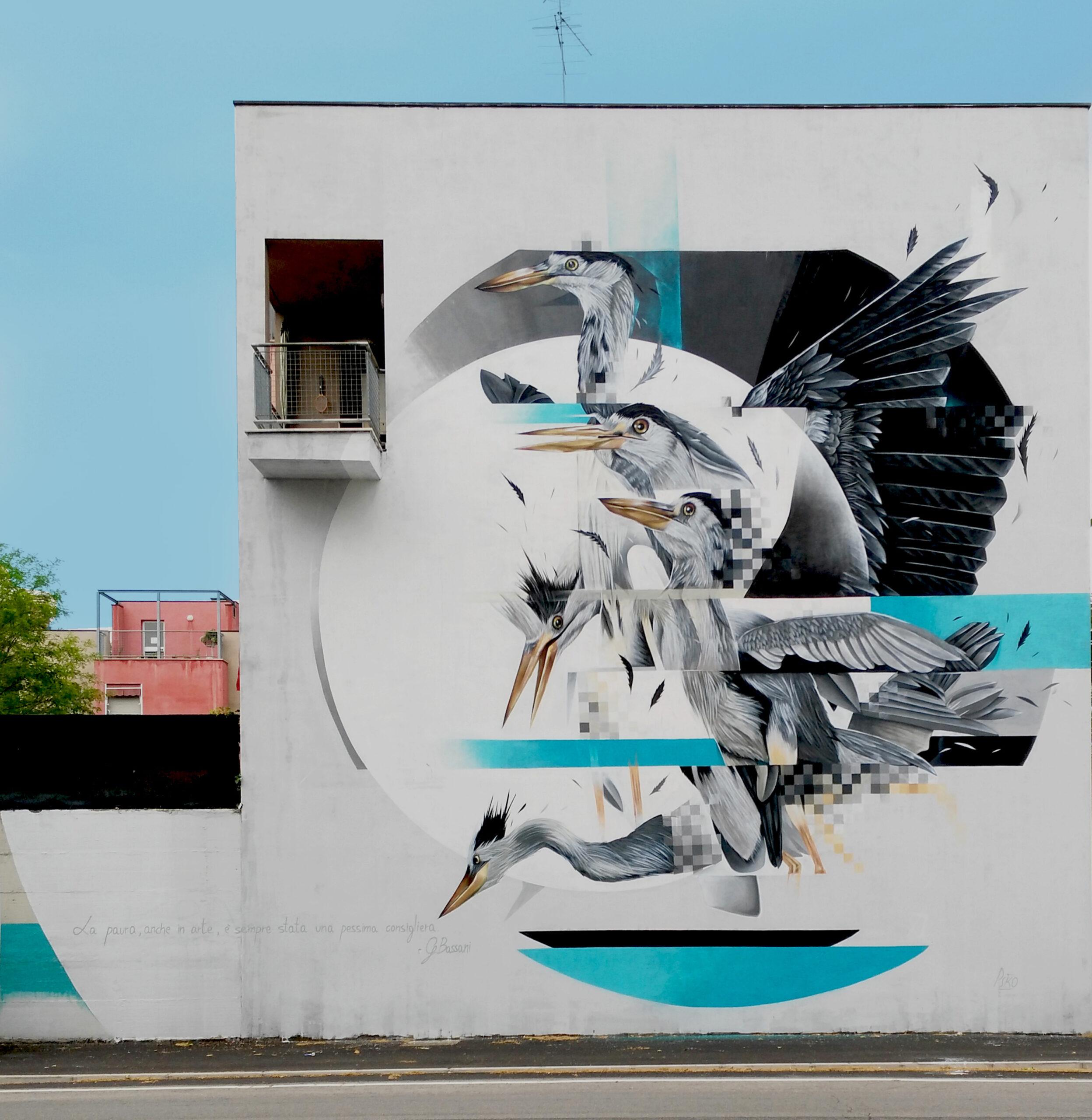 Psiko, Grey heron, Ferrara, Via Rino Maragno, 2017. Photo credits l'artista