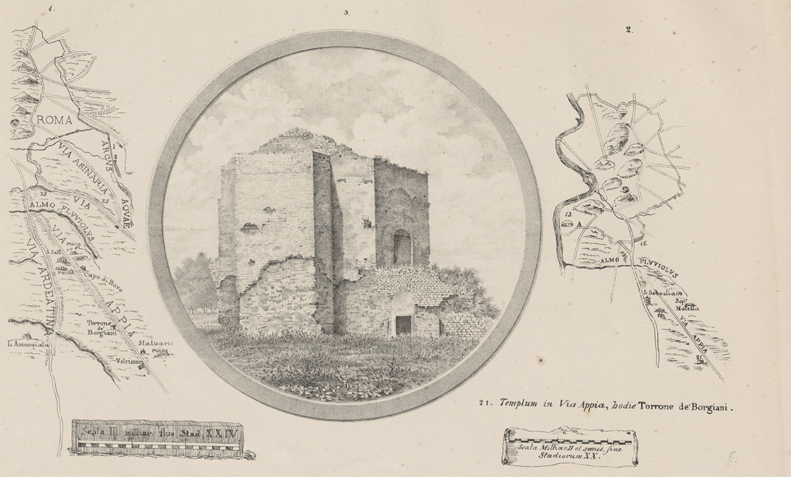 Rappresentazione del Mausoleo tratta dal volume del 1882 di GB. Lugari