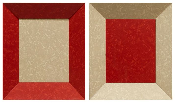 Richard Artschwager, Double Color Study, 1965, formica su legno (in due parti), 41 x 35 x 10.5 cm ognuno © 2020 Richard Artschwager Artists Rights Society (ARS), New York. Photo Roland Schmidt