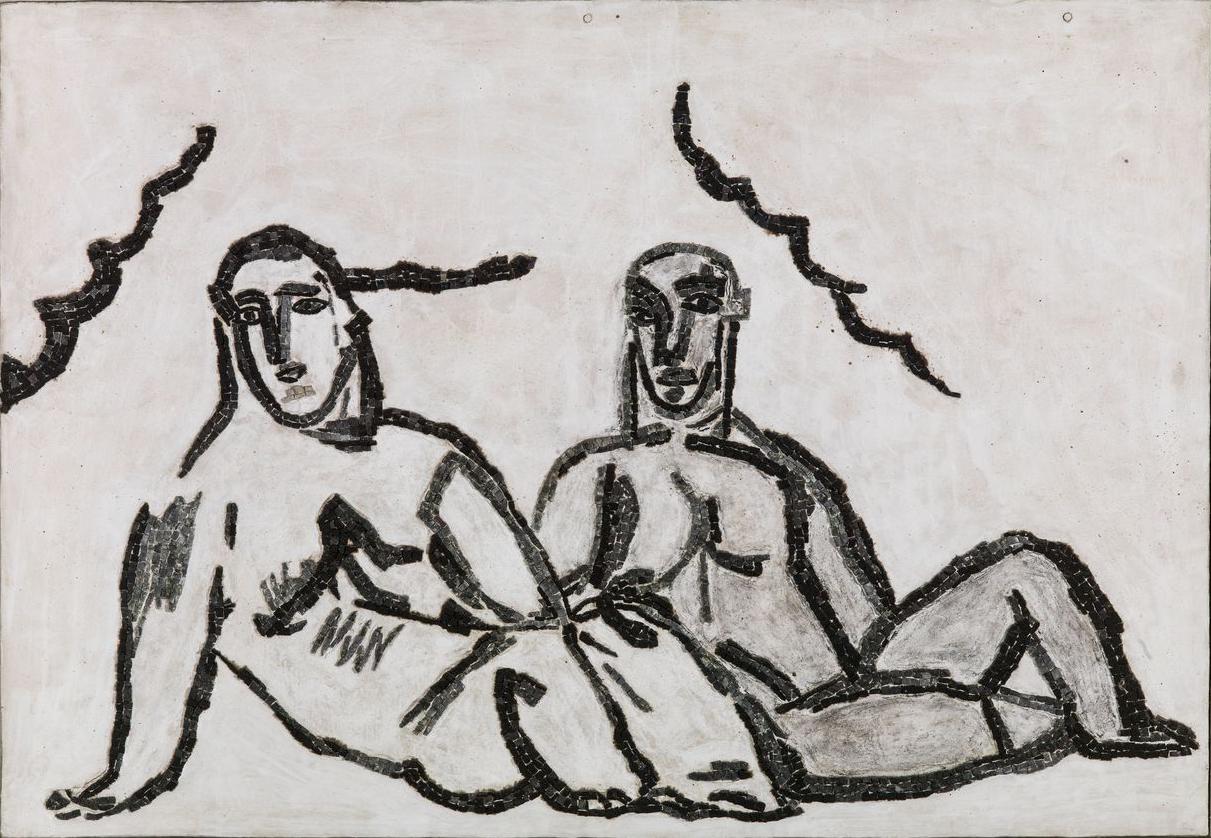 Sandro Chia, Storie italiane, 2000, particolare, mosaico. Collezione Farnesina