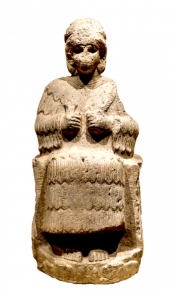 Statue of a goddess found in Susa with inscriptions of Puzur Shushinak (ca. 2150 BC) written in Linear Elamite and cuneiform writings; Louvre Museum