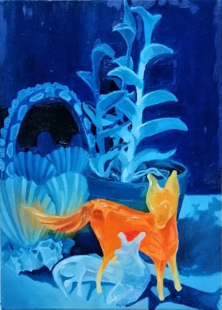 Anna Capolupo, Cani Scirocco, 2020, olio su tela, 30x20 cm