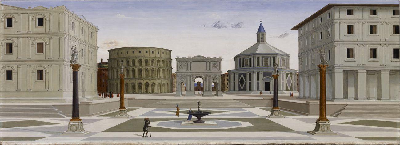 Anonimo, Città ideale, 1480 84 ca., olio e tempera su tavola, 80,33×219,8 cm. Walters Art Museum, Baltimora