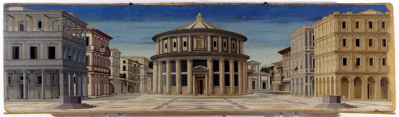 Anonimo, Città ideale, 1480 90, tempera su tavola, 67,7×239,4 cm. Galleria Nazionale delle Marche, Urbino