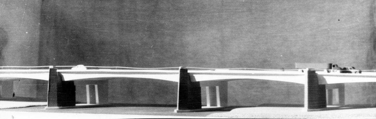 Concorso per il ponte Vespucci a Firenze (1955, 5° classificato, in collaborazione con gli ingegneri C. Messina, M. Margheri e V. Palmisano). Courtesy Università degli Studi di Firenze, BST – Archivi di Architettura, Fondo Giovanni Klaus Koenig