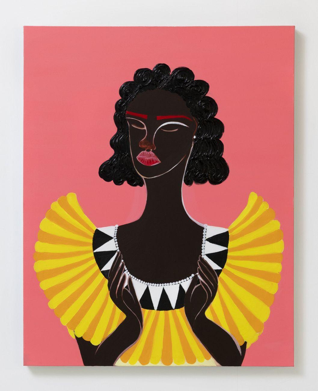 Delphine Desane, The Medium is the Message, 2021, acrylic on canvas, 76.2x60.9 cm. Courtesy the artist and Luce Gallery, Torino. Photo Andrea Ferrari