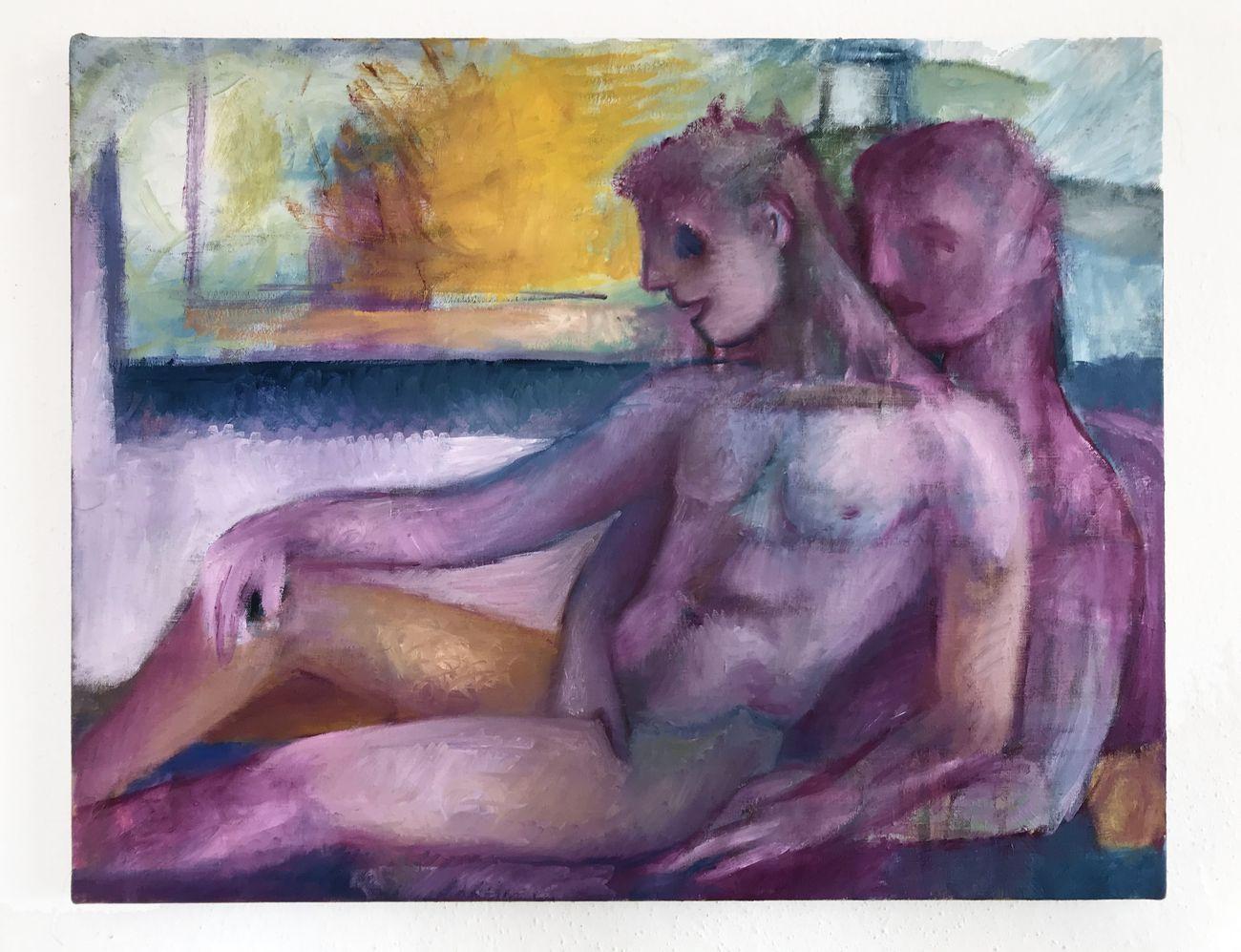 Giovanni Copelli, Amanti, 2020, olio su lino grezzo, cm 30x40