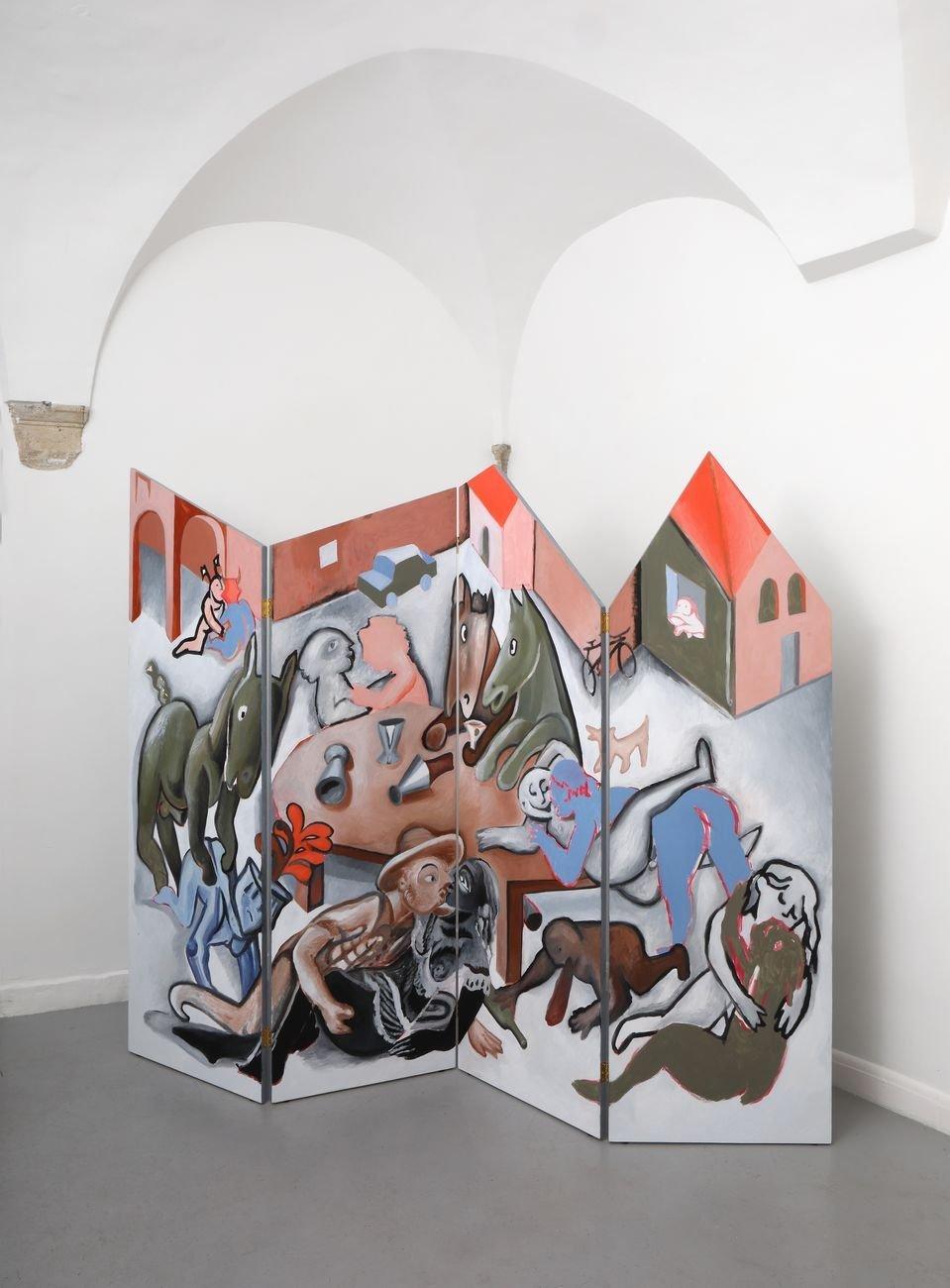 Giovanni Copelli, Scherzo (fronte), 2019, olio e acrilico su tavola, cm 175x220x2. Installation view at Operativa, Roma