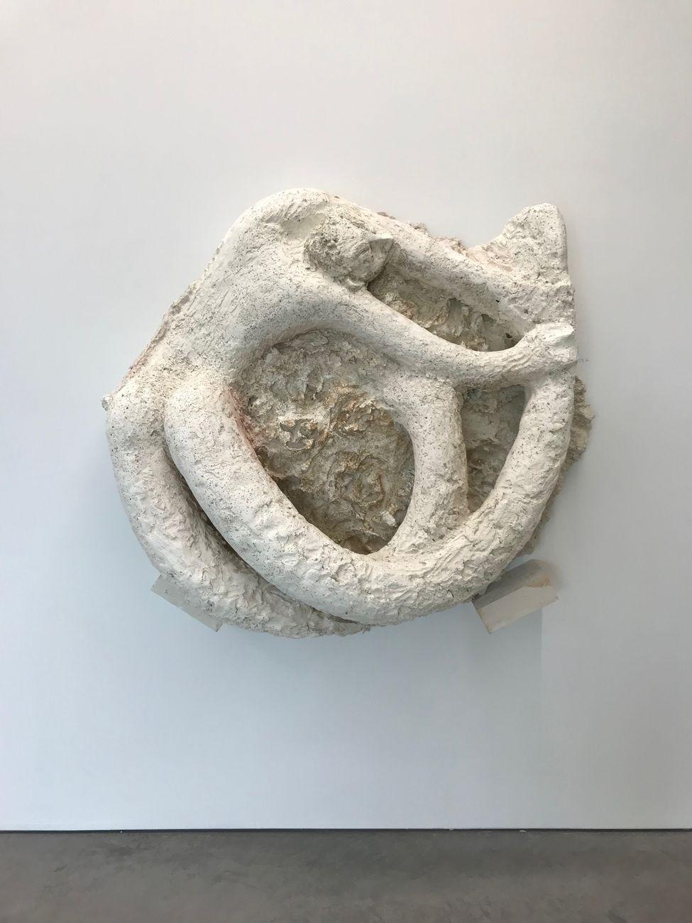 Giovanni Copelli, Tritone, 2019, gesso, cemento, polvere di bronzo, polvere, cm 120x100x40. Installation view at MRAC, Serignan