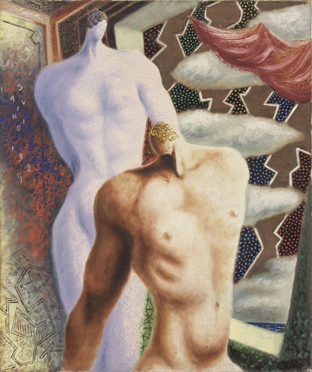 Les Dioscures, 1929, olio su tela, 65 x 54 cm Milano, collezione Prada. Courtesy Farsettiarte, Prato © Alberto Savinio by SIAE 2021