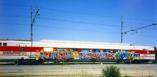 Longe, Chob, Oida 257 WMN Crew, Pendolino, Bologna 1996. Photo courtesy of the artists