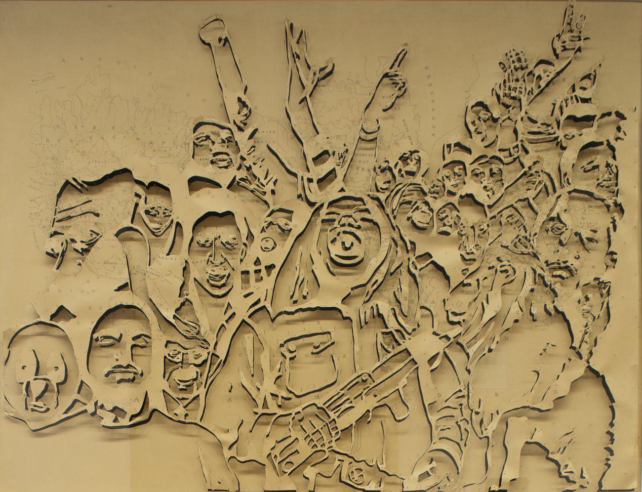 Pietro Ruffo, Atlas Riot's II, 2013, inchiostro e intagli su carta intelata, cm 140x173x9 (con cornice). Collezione Farnesina