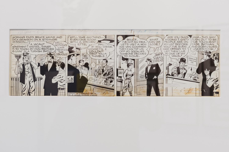 Striscia disegnata da Bob Kane dal titolo Batman et Robin du 14 07 1945 presente all'interno della mostra Masters of Marvel & DC al PAFF! di Pordenone. Foto Elisa Caldana