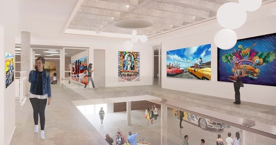 Un rendering dell'interno del futuro museo. Courtesy Riverside Art Museum