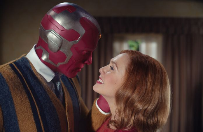 Paul Bettany as VIsion and Elizabeth Olsen as Wanda Maximoff in Marvel Studios' WANDAVISION exclusively on Disney+. Photo courtesy of Marvel Studios. ©Marvel Studios 2020. All Rights Reserved.