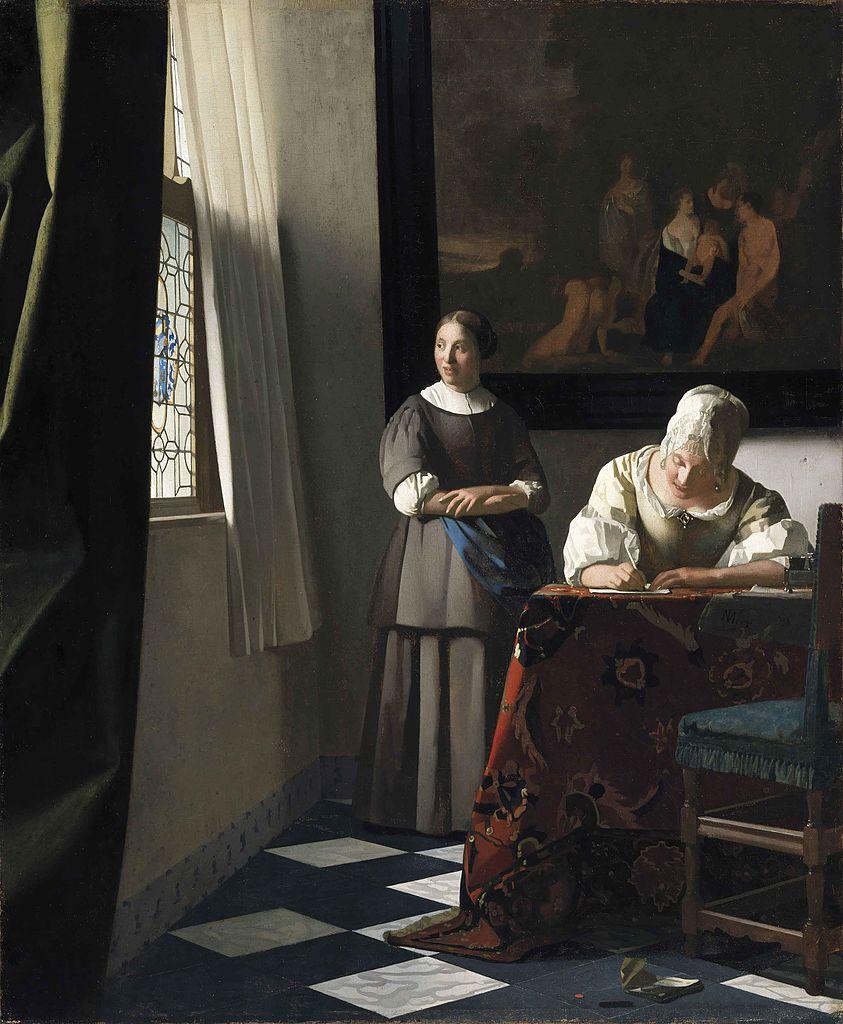 Jan Vermeer, Donna che scrive una lettera alla presenza della domestica