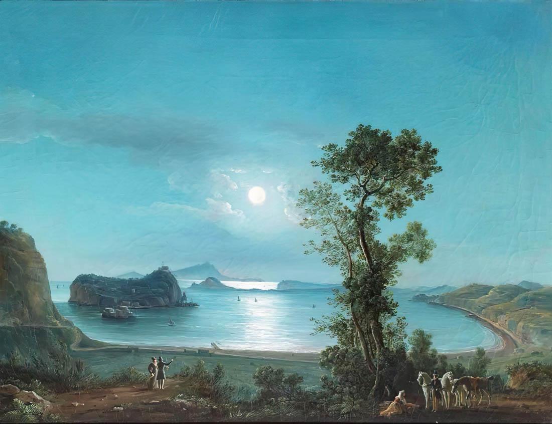 Salvatore Fergola, Golfo di Pozzuoli al chiaro di luna (prima metà dell'Ottocento), olio su tela, collezione privata