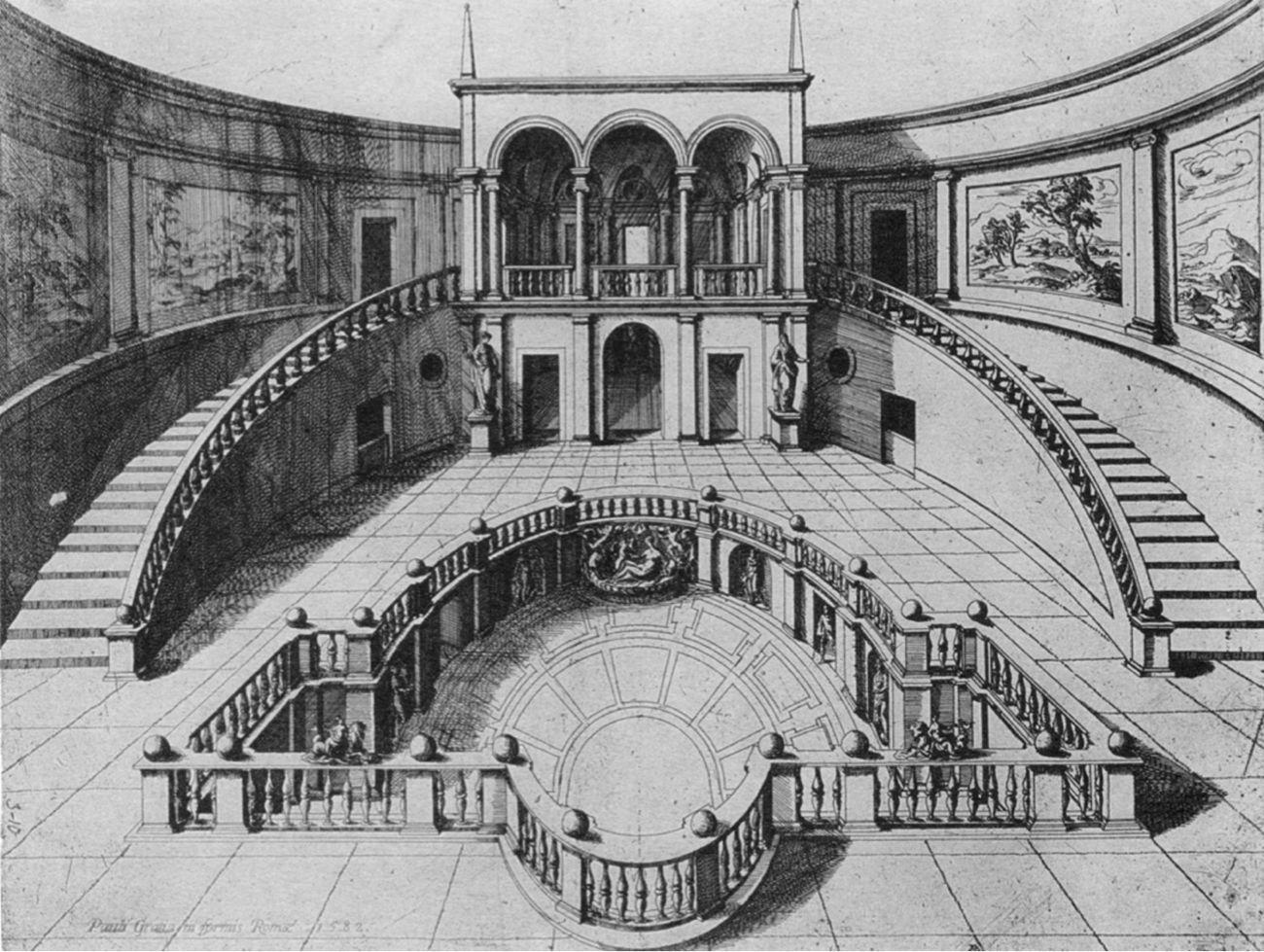 Antoine Lafréry, veduta del ninfeo e della loggia, immagine tratta da John Coolidge, The Villa Giulia. A study of Central Italian Architecture in the Mid Sixteenth Century