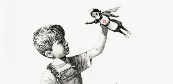 Banksy, Game Changer, oil on canvas, 35.78 x 35.78in. (91 x 91cm.), painted in 2020. Courtesy Christie's (detail)