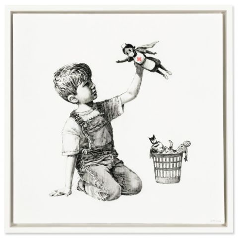 Banksy, Game Changer, oil on canvas, 35.78 x 35.78in. (91 x 91cm.), painted in 2020. Courtesy Christie's