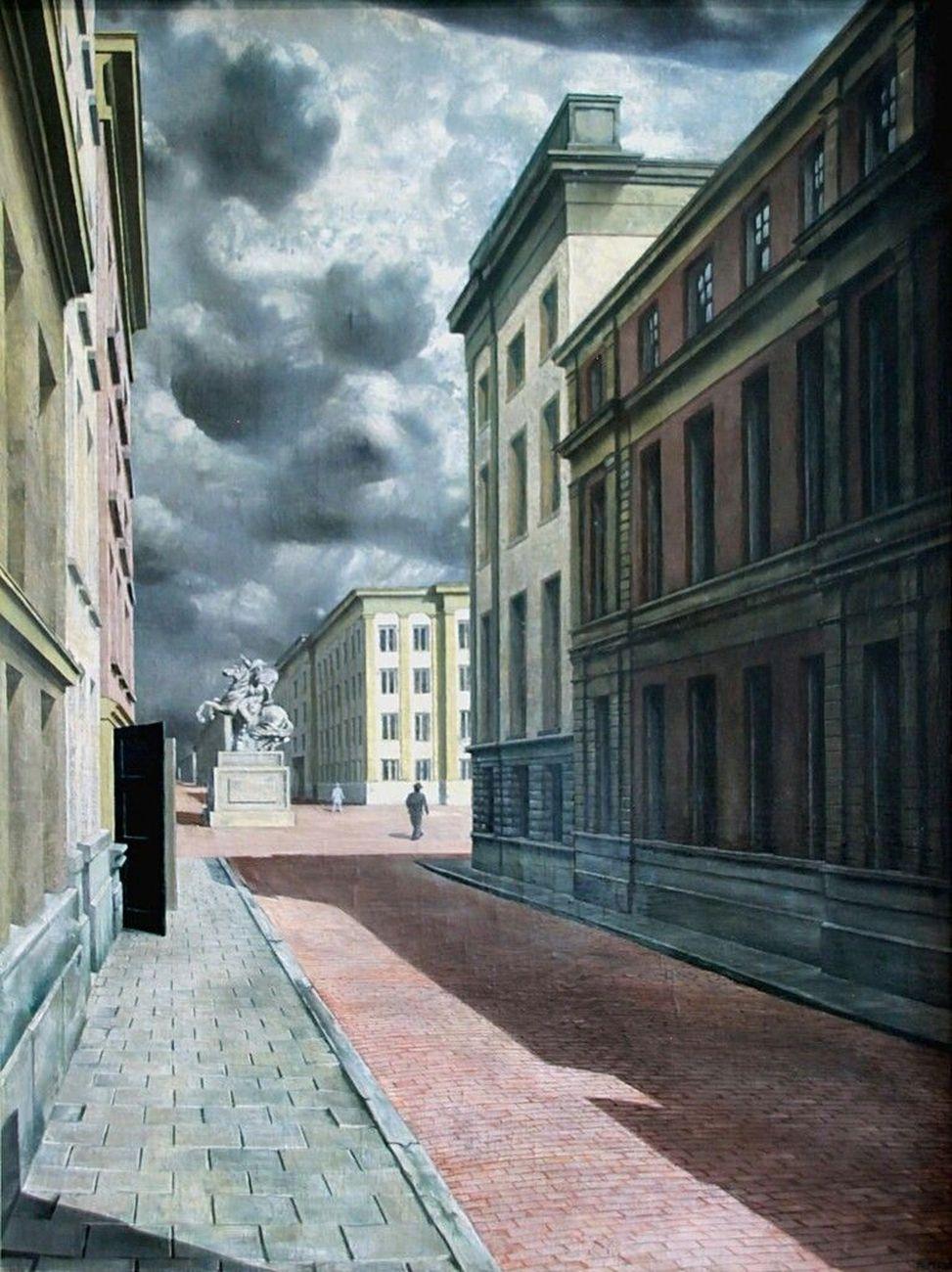 Carel Willink, Strada con statua, 1934