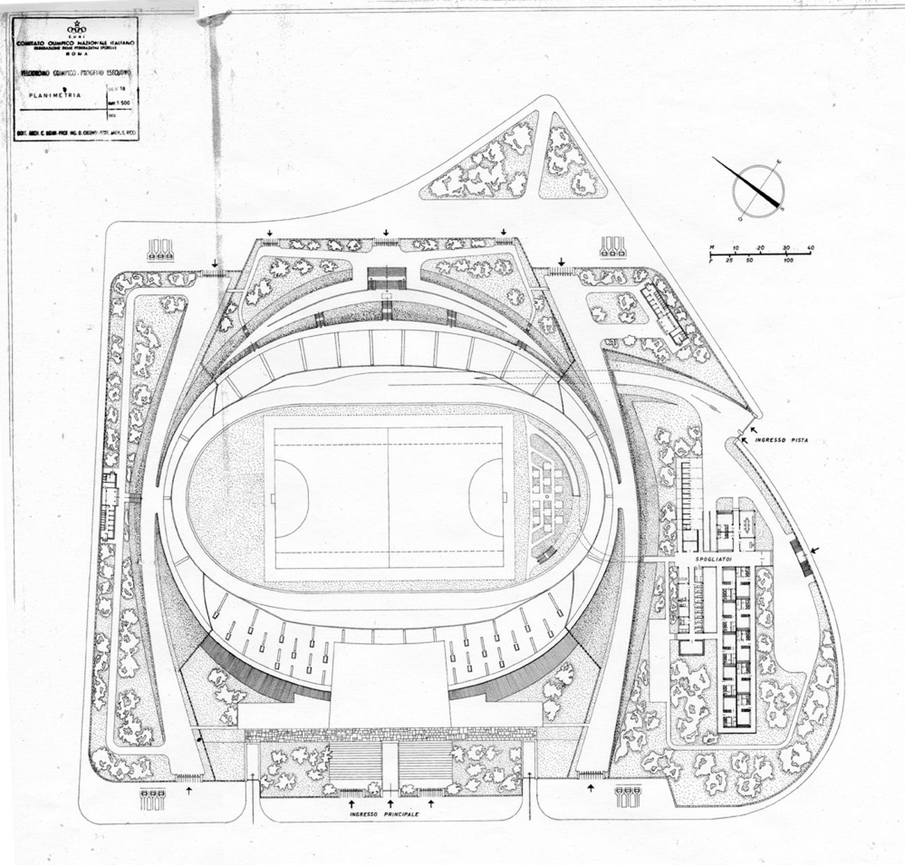 Cesare Ligini, Velodromo Olimpico, Roma, planimetria