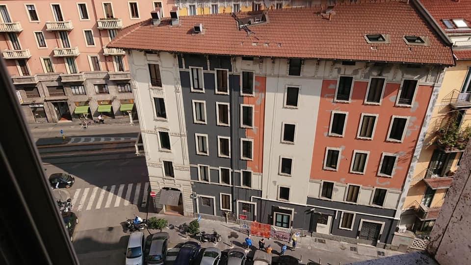 Demidoff Hotel durante i lavori sulla facciata