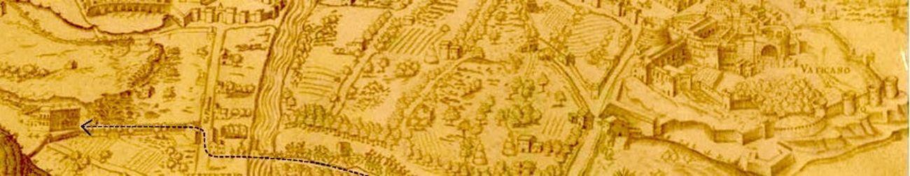 Dettaglio della mappa di Roma incisa nel 1561 da Sebastiano Re e disegnata da Giovanni Dosio, con Papa Giulio e la Curia mentre muovono verso Villa Giulia. Photo via Europeana