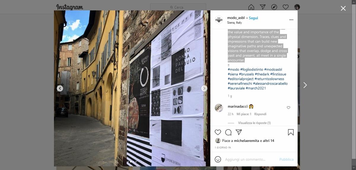 FOGLIO D.ISTINTO, Siena MODO asbl Brussels ( modo_asbl) Instagram