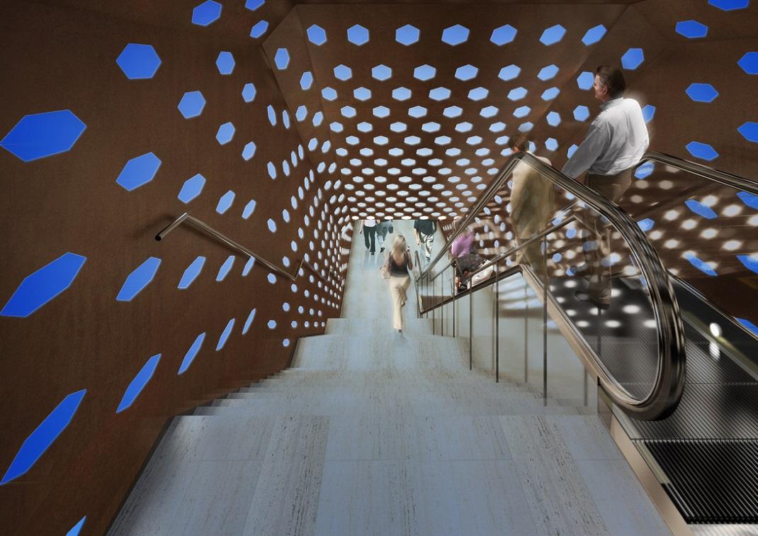 Fermata metropolitana Duomo ©Studio Fuksas Napoli, Discenderia LIGHTING BLUE