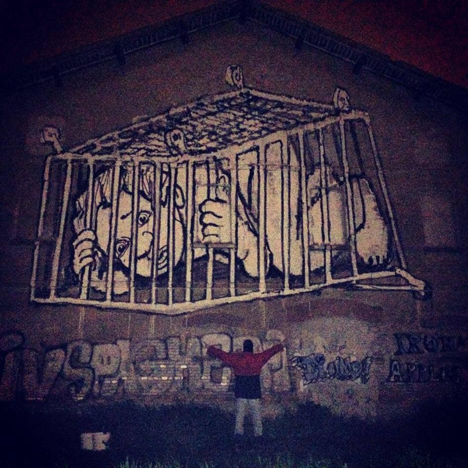 Il murale Bambino nel carrello del Collettivo FX in via Rosa Luxemburg a Reggio Emilia, photo Collettivo FX